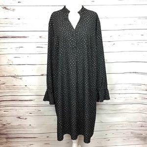 [Ava & Viv] Ruffle Cuff Popover Dress, Black